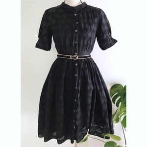 Carnation Lily Lily Rose Sunrise Black Shirt Dress